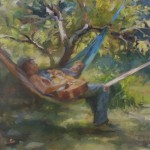 Sieste musicale Huile sur toile 24/30