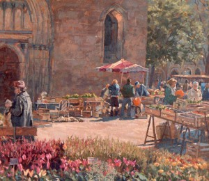 Market with cathedral