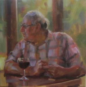 An anxious wait. 30x30. oil on canvas