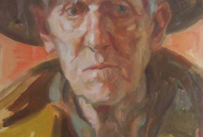 Portrait of my father. Oil on board.