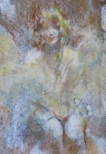 monoprint and pastel