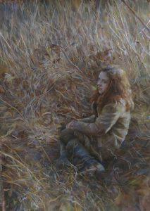 In orange field